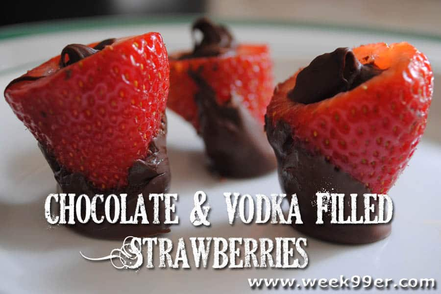 Chocolate and Vodka Filled Strawberries