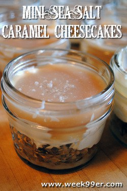 Mini Sea Salt Caramel Cheesecakes – No Bake!