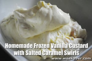 Homemade Frozen Vanilla Custard with Salted Caramel Swirls