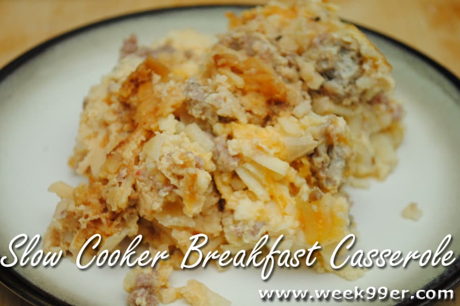 Slow Cooker Breakfast Casserole made with Pompeian Grape Seed Oil Cooking Spray