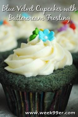 Blue Velvet Cupcakes with Buttercream Frosting Recipe