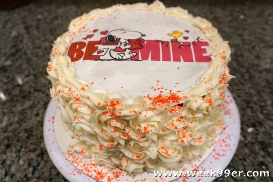 Snoopy Valentine's Party Cake