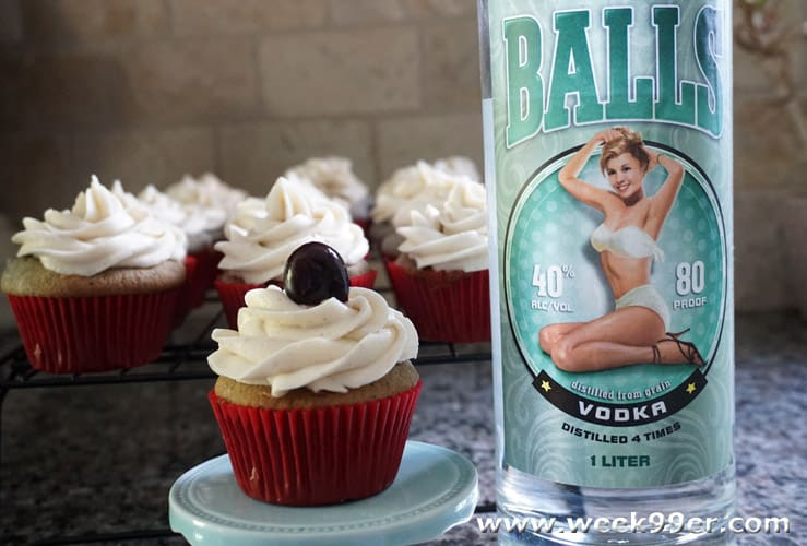 Cherry Spice Vodka Cupcakes with Balls Vodka