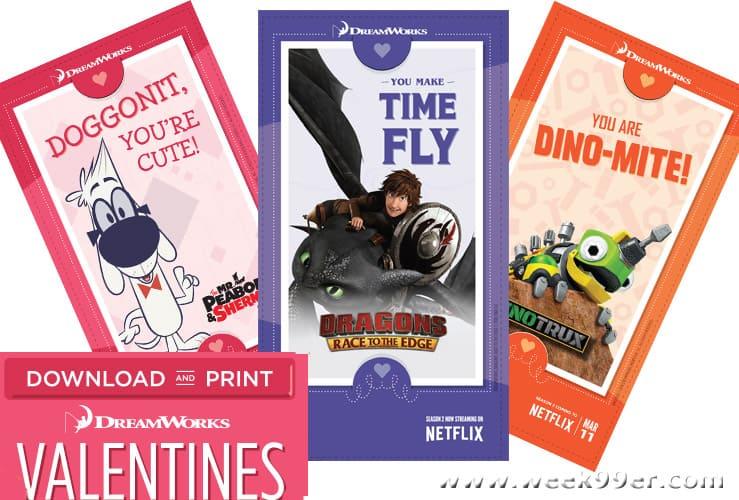 dreamworks printable Valentines