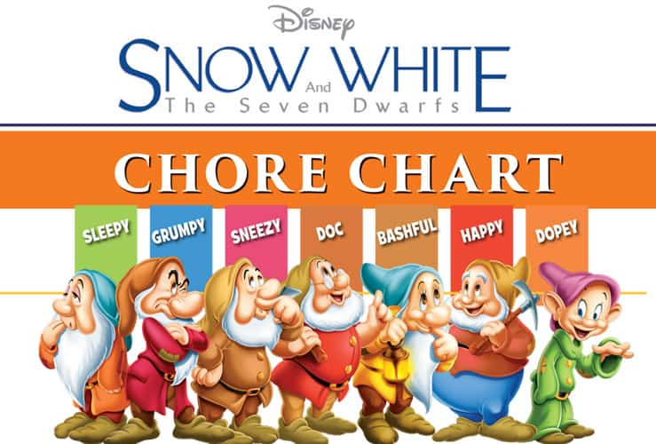 photo regarding Snow White Printable called Cost-free Printable Snow White Chore Charts