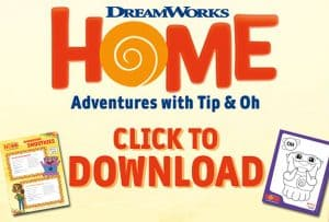 Download Home Adventures with Tip & Oh Activity Sheets & Recipes! #Dreamworks #home