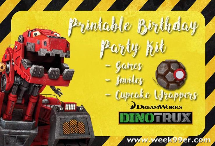 dinotrux free party printables