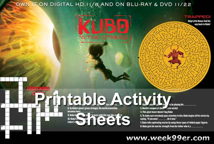 kubo and the Two Strings Activity Sheets