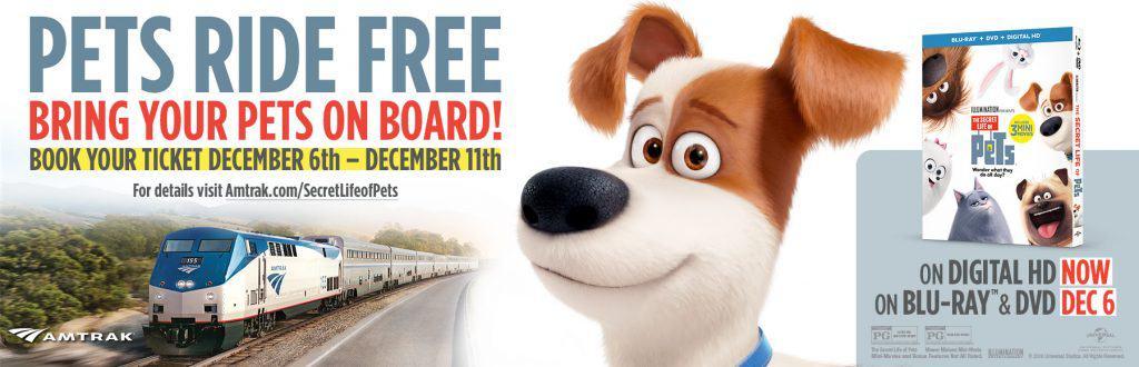 Secret Life of Pets Free amtrak rides