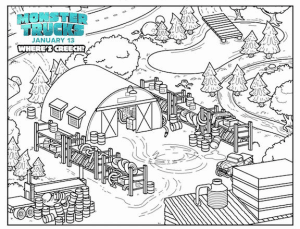 monster trucks coloring sheet