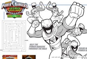 Power Rangers Dino Super Charge: Extinction Activty Sheets