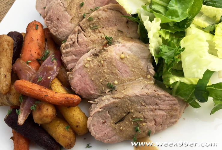 Mustard Pork Loin with Thyme-Roasted Carrots