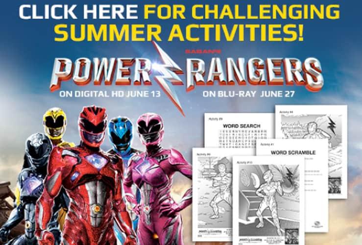 power rangers activity sheets