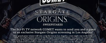 Enter to win a Trip to LA with Stargate Origins and Comet TV #CometTV