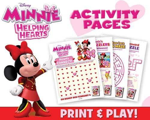 Minnie Helping Hearts activity sheets