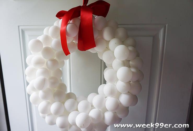 snow ball wreath DIY