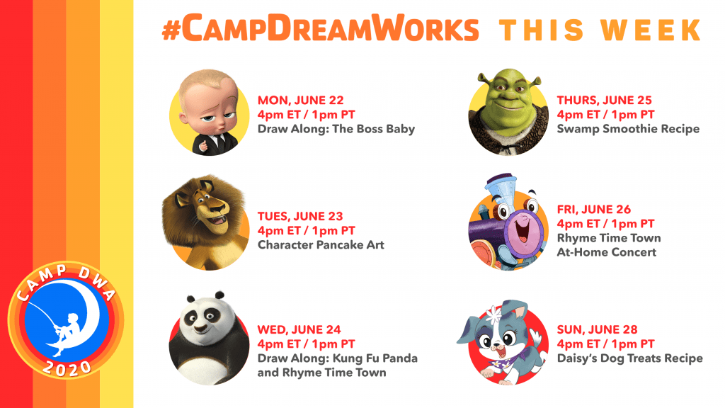 Where to find Camp DreamWorks Activities